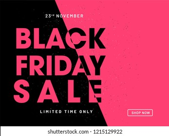 Website poster design for Black Friday Sale. Advertising, promotional banner in black and pink color.