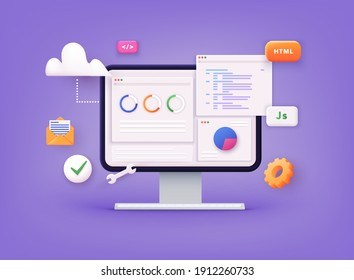 Website programming and coding. Web development and coding. 3D Vector Illustrations.