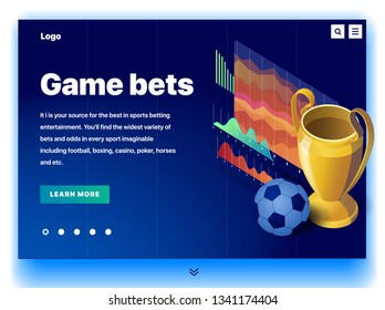 Website providing the service of game bets. Concept of a landing page for game bets. Game bets in sports. Vector website template with 3d isometric illustration of a cup and soccer ball and charts
