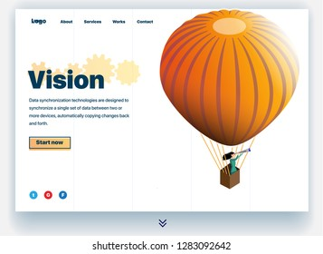 Website providing the service of visionary. Concept of a landing page for business vision. Vision site concept. Vector website template with 3d isometric illustration of a visionary in a balloon