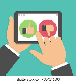 Website rating feedback and review concept. Hand holding and pointing to a tablet with like and dislike hand sign button on the screen. Vector illustration in flat style