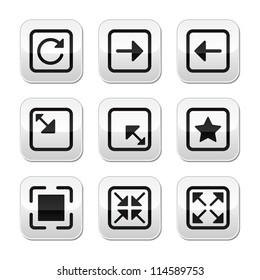 Website screen size buttons set - full screen, minimize, refresh