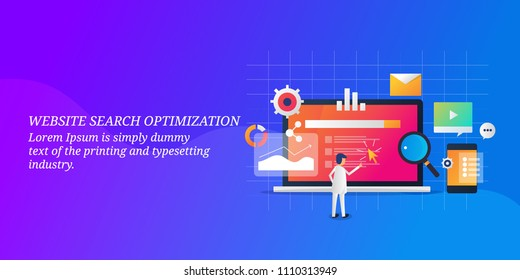 Website Search optimization - Website SEO - Digital marketing - Man analyzing search data - vector banner with icons and texts