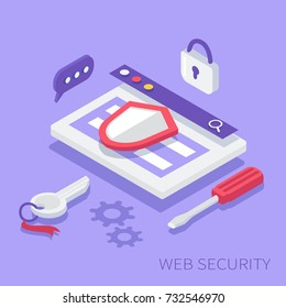 Website security concept. Can use for web banner, infographics, hero images. Flat isometric vector illustration.