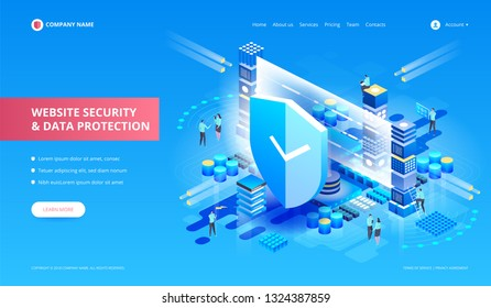 Website Security and Data Protection. Shield symbol. Vector isometric illustration