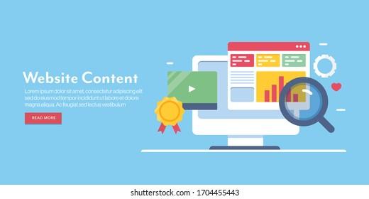 Website-SEO, Content-SEO, Website-Optimierung, Digital-Marketing - Design-Vektorillustration-Banner mit Symbolen