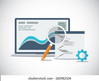Website SEO (search engine optimization) analysis and process flat vector concept