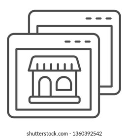 Website with shop thin line icon. Browser with store vector illustration isolated on white. Shopping online outline style design, designed for web and app. Eps 10