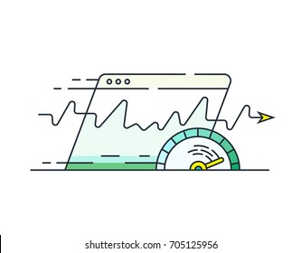 Website speed loading time icon. Web browser with speedometer testing Speed of internet connection. Data compression during transmission over global communication networks.