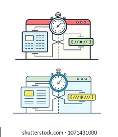 Website speed loading time icons. Web browser with speedometer testing Speed of internet connection. Data compression during transmission over global communication networks.