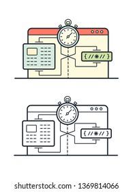 Website speed loading time illustration. Data compression during transmission over global communication networks
