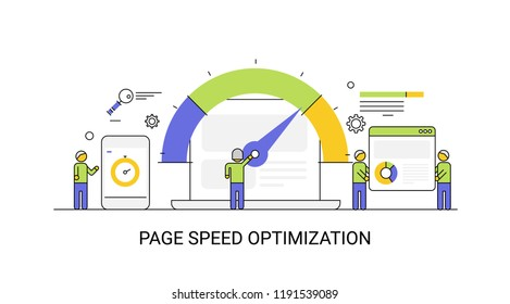 Website speed - Loading time - page optimization SEO flat line vector illustration