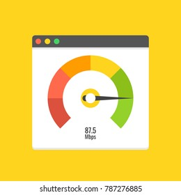 Website speed loading time. Web browser with speedometer test showing fast good page loading speed time. Vector illustration.