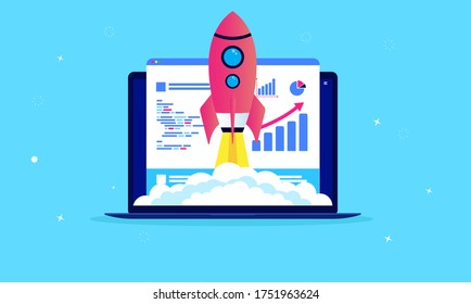 Website speed optimisation - Laptop with webpage and analytic tools on screen. Rocket flying up symbolising fast launch. SEOm performance and web development concept. Vector illustration.