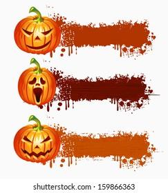 Website spooky banner set with Halloween pumpkin