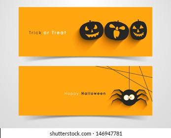Website spooky header or banner set with Halloween pumpkin and spider.