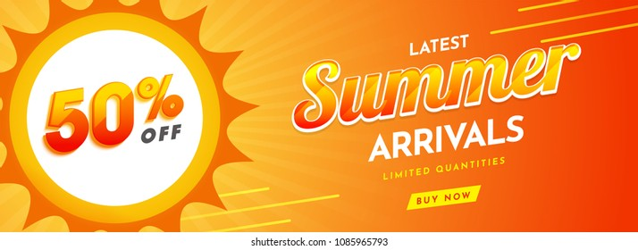 Website, summer sale header or banner design with 50% off offers on yellow background. Summer Arrivals Collections Text.