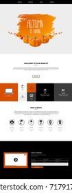 Website Template in Autumn Theme, Vector Illustration