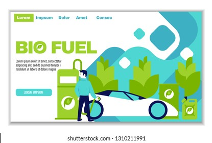 Website template of bio fuel, for graphic and web design, flat design vector illustration