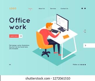 Website Template. Business workflow management. Office life, business, programmer. Data analysis. Landing page. 3D. Flat design vector illustration