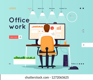 Website Template. Business workflow management. Office life, business, programmer. Data analysis. Landing page. Flat design vector illustration