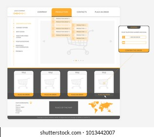 Website template for commerce. Distances, indents and sizes of objects are met to the maximum for simplification of work with templates of developers of sites.