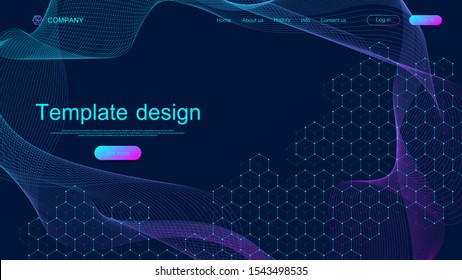 Website template design. Asbtract scientific background with colorful dynamic waves, hexagonal innovation pattern. Modern landing page for websites or apps. Vector illustration