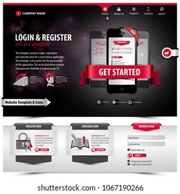website template design containing web elements: header menu with flat icon set, footer tab form, layouts, banners, plugin apps, login, register symbols, 3d ribbons, buttons, eps10 vector illustration