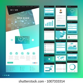 Website template design with interface elements. Technology HUD global connections backgrounds. Vector illustration.