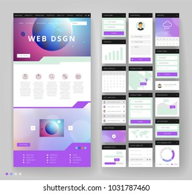 Website template design with interface elements. Earth and bokeh defocused backgrounds. Vector illustration.