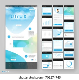 Website template design with interface elements. Sky cloud backgrounds. Vector illustration.