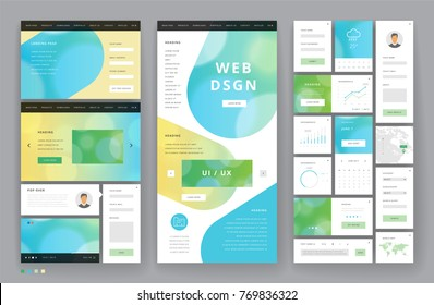 Website template design with interface elements. Bokeh defocused backgrounds. Vector illustration.