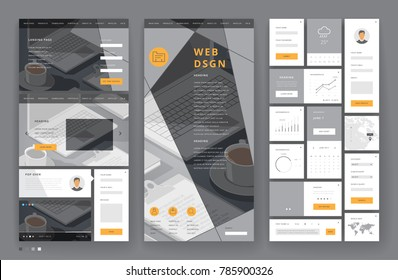 Website template design with interface elements. Office stationery backgrounds. Vector illustration.