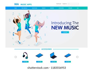 Website template design. Isometric concept musical landing page for the sale of musical accessories and applications, young girls listen to music. Easy to edit and customize.
