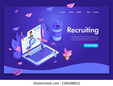 Website template design. Isometric concept Recruiting. Job agency human resources creative find experience. Easy to edit and customize landing page.