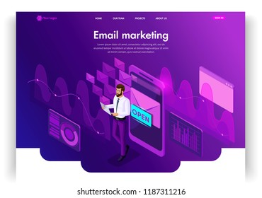 Website template design. Isometric concept Email Inbox Electronic Communication. E-mail marketing, marketing research. Easy to edit and customize landing page ui ux.