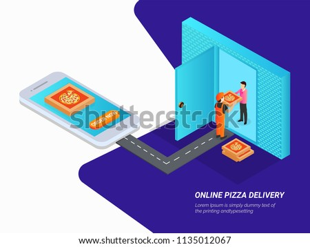 Website Template Design Isometric View Smartphone Stock Vector