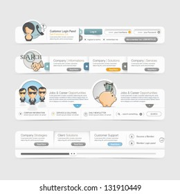 Website template design menu navigation elements with icons set