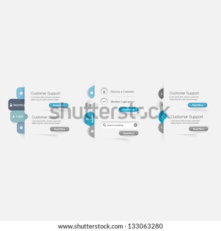 Website Template Design Menu Navigation Elements Stock