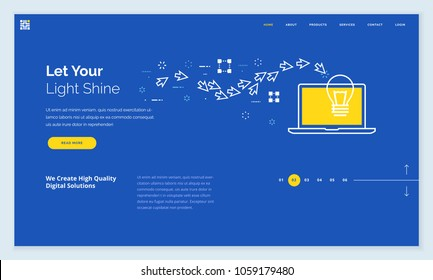 Website template design. Modern flat line vector illustration concept of web page design for website and mobile website development. Easy to edit and customize.