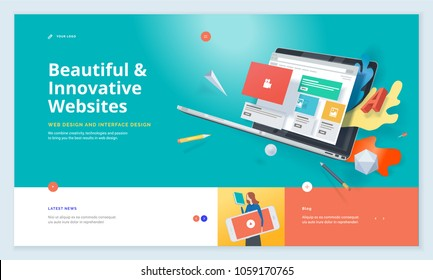 Website template design. Modern vector illustration concept of web page design for website and mobile website development. Easy to edit and customize. - Shutterstock ID 1059170765