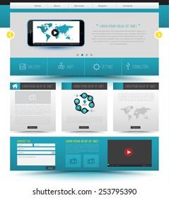Website template design. Smartphone concept technology. Vector illustration.