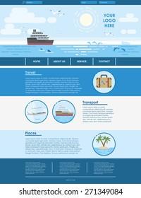 Website template design for travel agency. Vector flat illustration in blue color. EPS 10