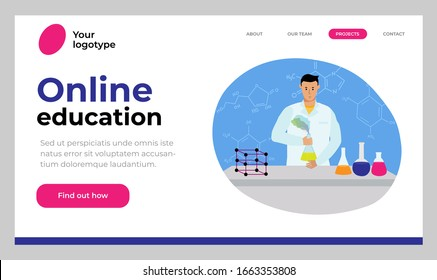 Website template design. Vector illustration concept of online education. Chemistry teacher gives lessons remotely. Video tutorials.