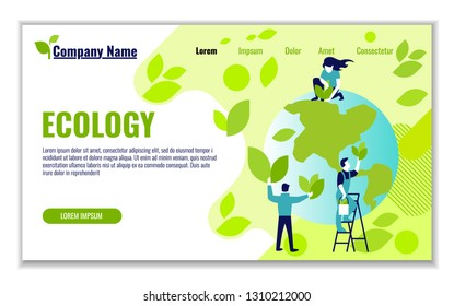 Website template of ecology and generation and saving green energy for graphic and web design, flat design vector illustration
