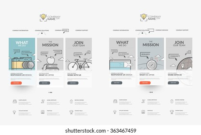 Website template elements collection: Set of two templates for personal or company business portfolio with concept icons.