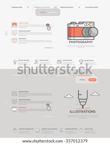 Website template elements set two homepage stock vector royalty website template elements set of two homepage templates for personal or company business portfolio with maxwellsz