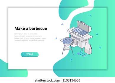 Website template encouraging you to buy a barbecue. Modern design concept. Vector illustration for mobile phones, apps, posters and flyers.