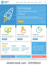 Website template, flat responsive design. Homepage