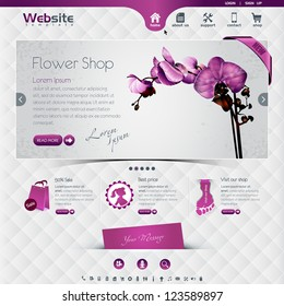 website template for flower shop and web shop, the worn, rubbed effects are on different layers, eps10, contains transparencies for a high realistic effect.